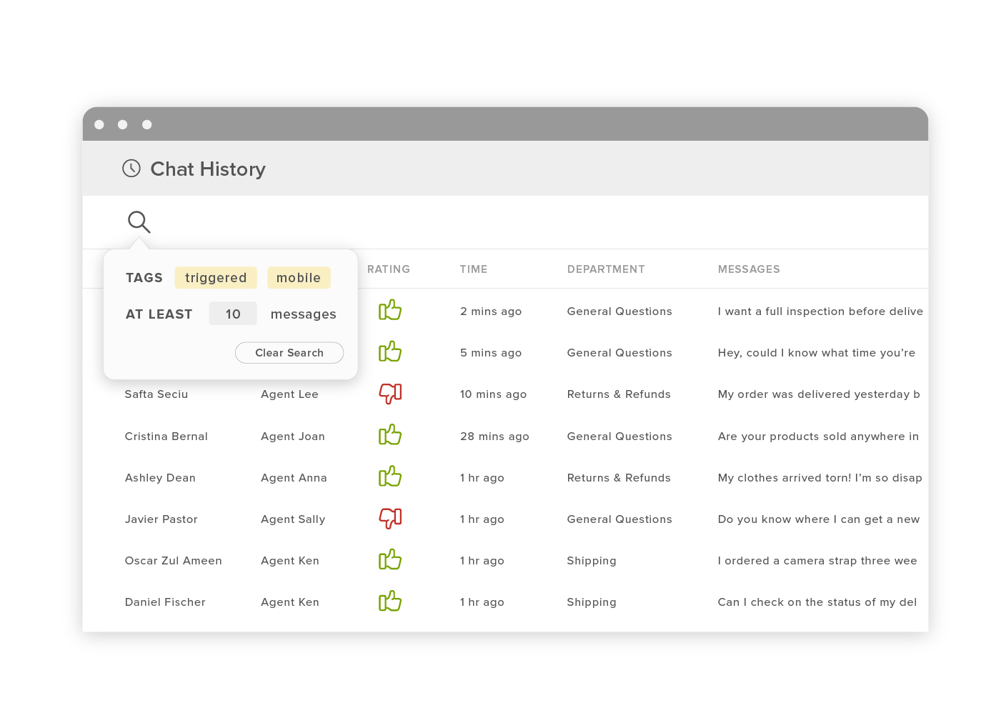 Track live chat